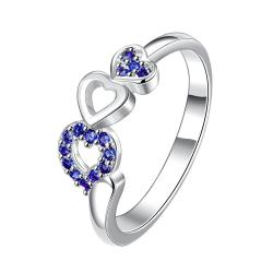 Trio-Heart Mock Sapphire Jewels Petite Ring Size 7 - Thumbnail 0