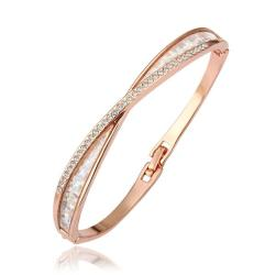Vienna Jewelry 18K Gold Infinite Loop Bangle with Austrian Crystal Elements - Thumbnail 0