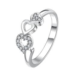 Trio-Heart Drop Down Crystal Jewels Petite Ring Size 7 - Thumbnail 0