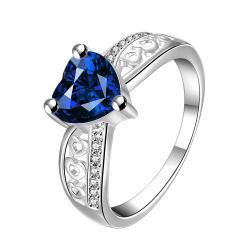 Heart Shaped Mock Sapphire Classic Ring Size 8 - Thumbnail 0