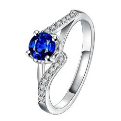 Mock Sapphire Swirl Design Petite Ring Size 7 - Thumbnail 0