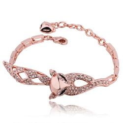 Vienna Jewelry 18K Gold Kitty Cat Connector Bracelet with Austrian Crystal Elements - Thumbnail 0