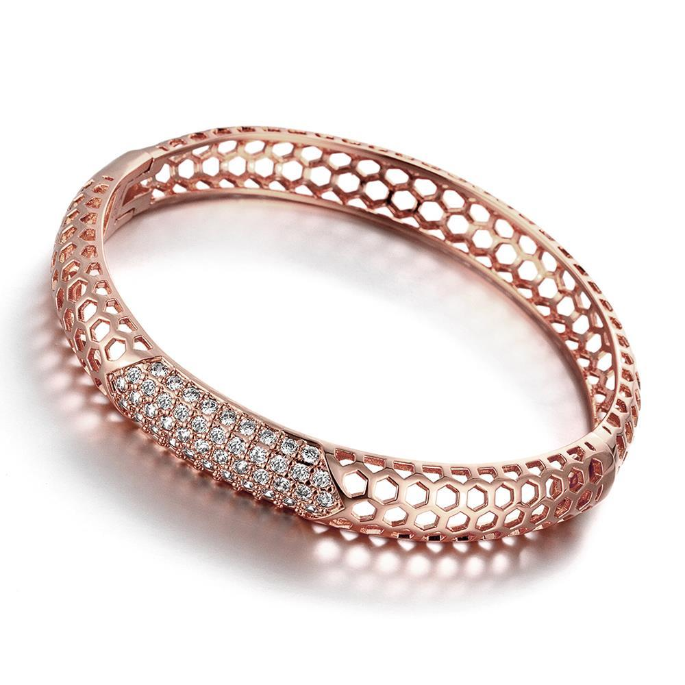 Vienna Jewelry Rose Gold Plated Hollow Ingrained Circular Bangle