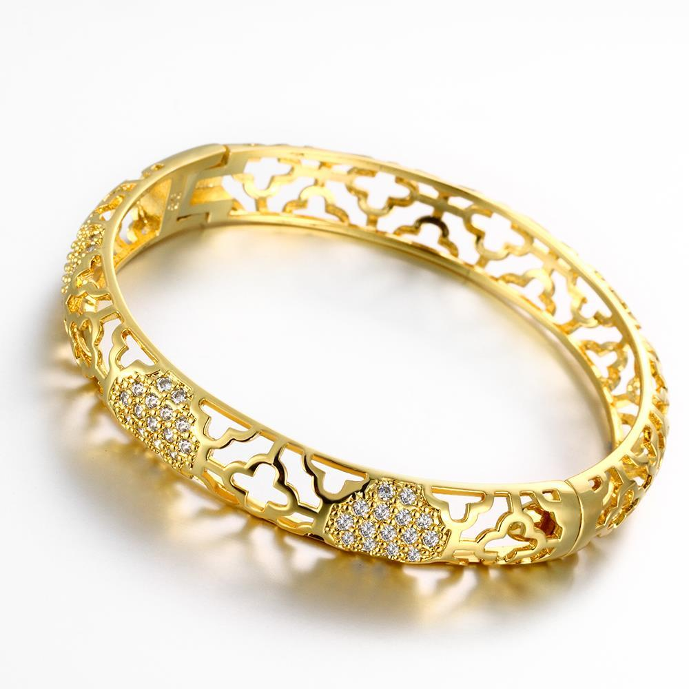 Vienna Jewelry Gold Plated Hammer Head Classic Bangle