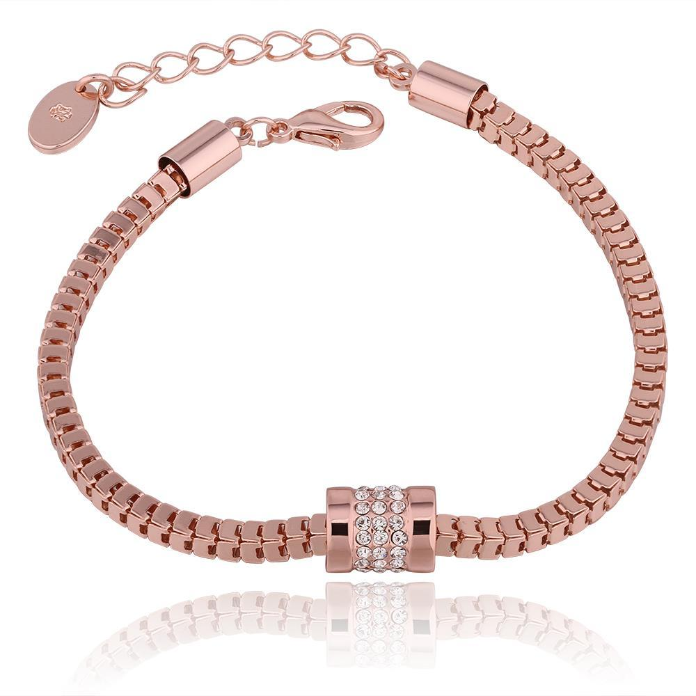 Vienna Jewelry 18K Rose Gold Chained Bracelet with Austrian Crystal Elements