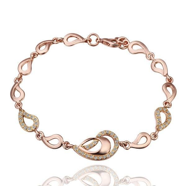 Vienna Jewelry Double Circles Connector 18K Gold Bracelet with Austrian Crystal Elements
