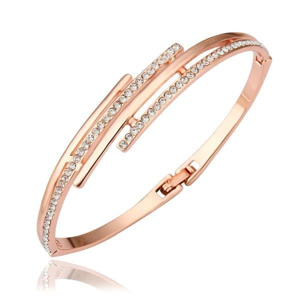 Vienna Jewelry 18K Gold Bangle with Crystal Jewels Ingrained with Austrian Crystal Elements