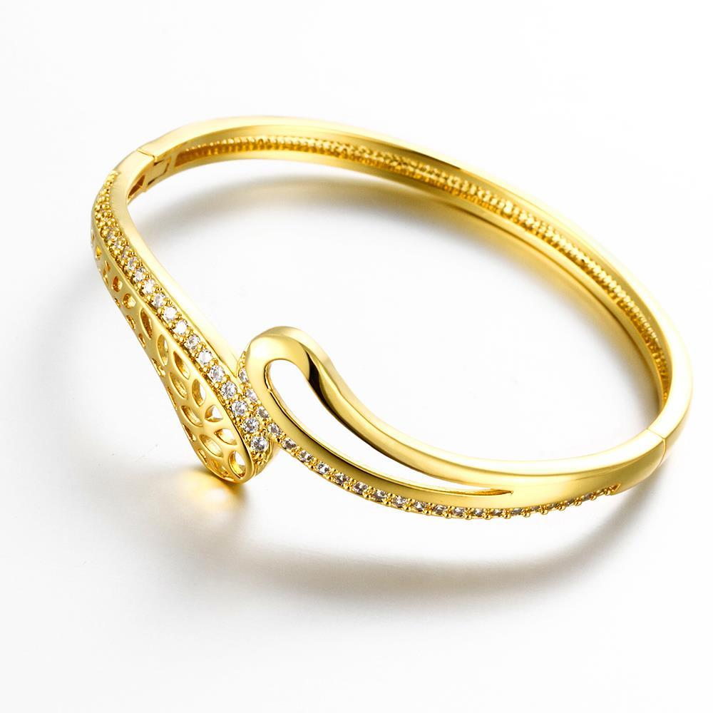 Vienna Jewelry Gold Plated Wino Icons Cuff Bangle