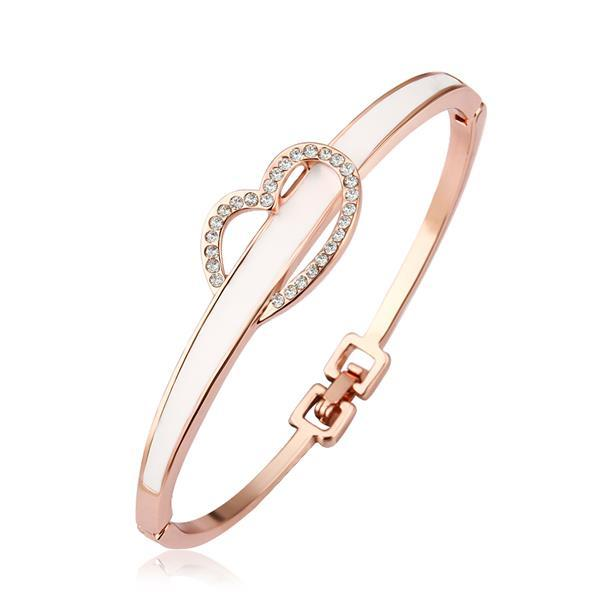 Vienna Jewelry 18K Gold Ivory Bangle with Heart Closure with Austrian Crystal Elements
