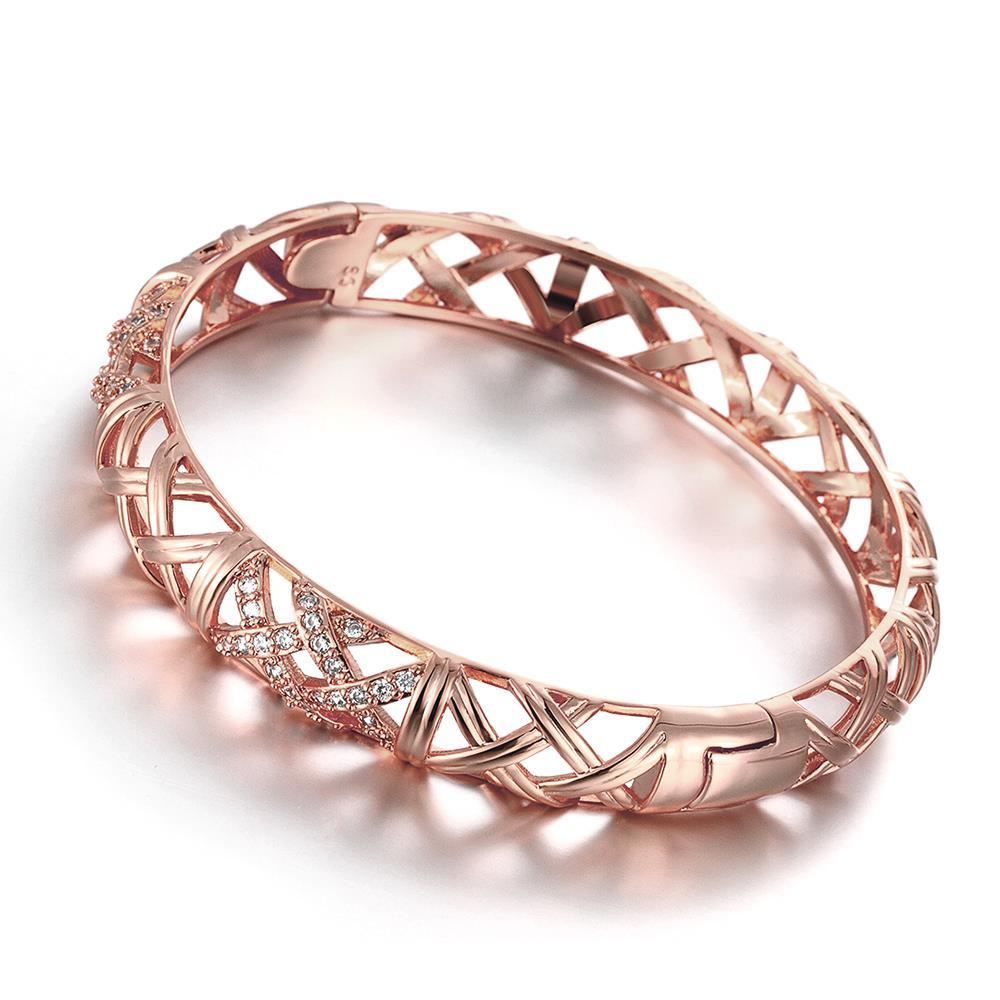 Vienna Jewelry Rose Gold Plated Intertwined Classic Standard Bangle
