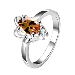 Orange Citrine Petite Gem Classic Ring Size 8 - Thumbnail 0