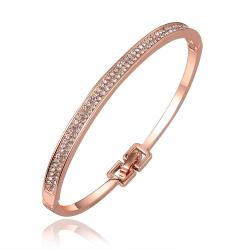 Vienna Jewelry 18K Rose Gold Thin Lay Bangle with Austrian Crystal Elements