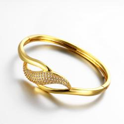 Vienna Jewelry Gold Plated Designer Swirl Pendant Bangle - Thumbnail 0