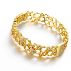 Vienna Jewelry Gold Plated Roman Inspired Laser Cut Bangle - Thumbnail 0