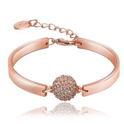 Vienna Jewelry 18K Rose Gold CZ Ball Bracelet with Austrian Crystal Elements - Thumbnail 0
