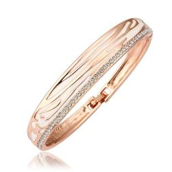 Vienna Jewelry 18K Gold Bangle with Snow White Leopard Ingrained with Austrian Crystal Elements - Thumbnail 0