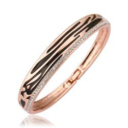 Vienna Jewelry 18K Gold Bangle with Leopard Ingrained with Austrian Crystal Elements - Thumbnail 0