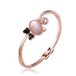 Vienna Jewelry 18K Rose Gold Cute Cat Bangle with Austrian Crystal Elements - Thumbnail 0