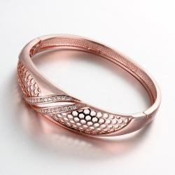 Vienna Jewelry Rose Gold Plated Solo Pave' Slim Cuff Bangle - Thumbnail 0