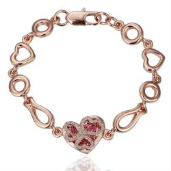 Vienna Jewelry Gold Ruby Jewels Heart Bracelet with Austrian Crystal Elements - Thumbnail 0