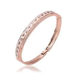 Vienna Jewelry 18K Rose Gold Bangle with Classic Ingrained Designs with Austrian Crystal Elements