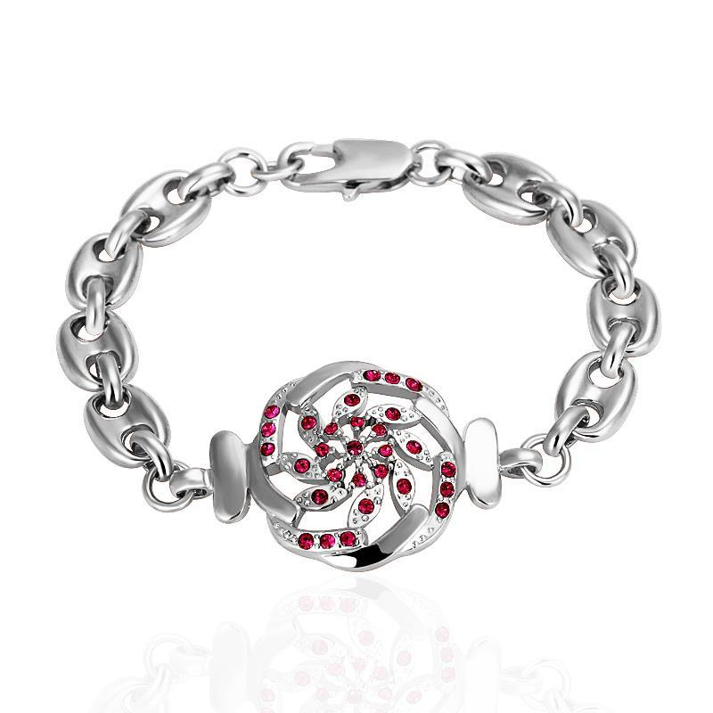 Vienna Jewelry White Gold Thin Line Bracelet with Ruby Emblem with Austrian Crystal Elements