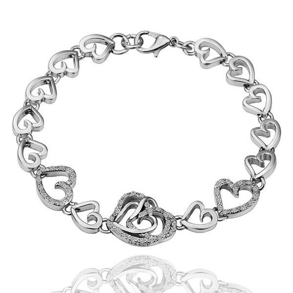 Vienna Jewelry 18K White Gold Hearts Connector Bracelet with Austrian Crystal Elements