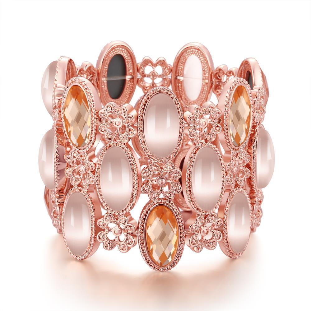 Vienna Jewelry 18K Rose Gold Bangle Covered with Natural Gemstones with Austrian Crystal Elements