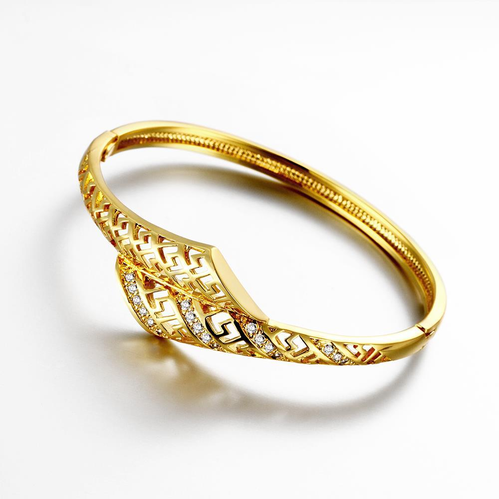 Vienna Jewelry Gold Plated Laser Cut Interconnected Love Bangle
