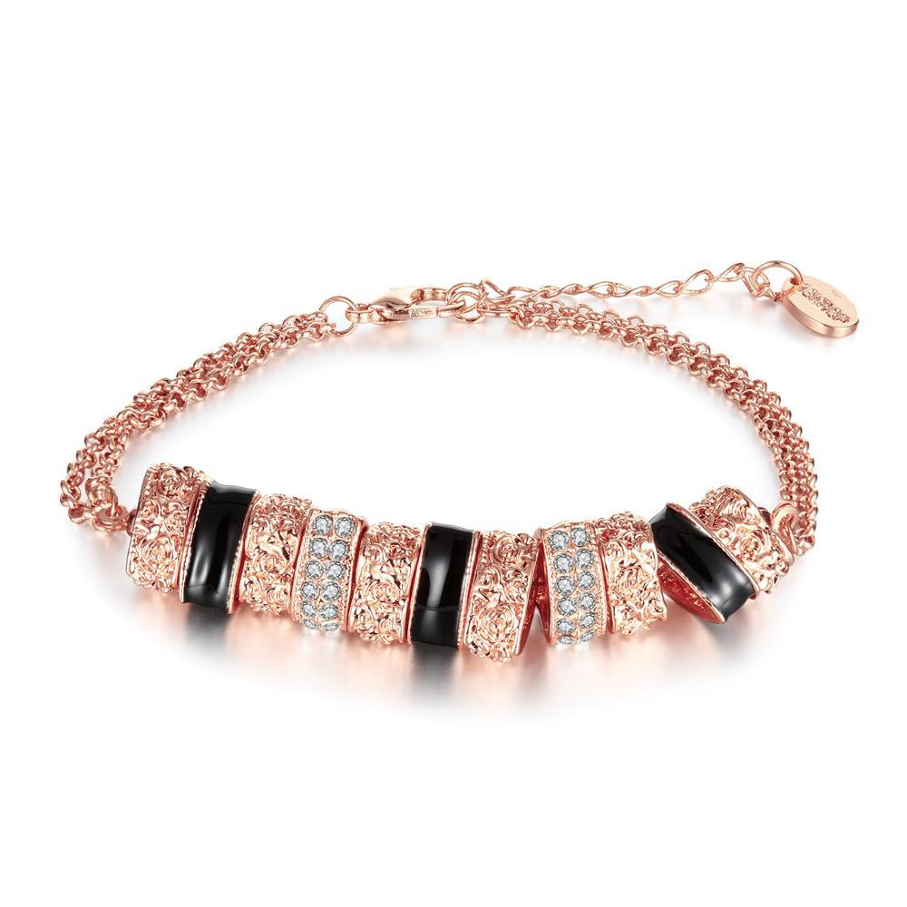Vienna Jewelry 18K Rose Gold Bracelet with Brass Charms with Austrian Crystal Elements