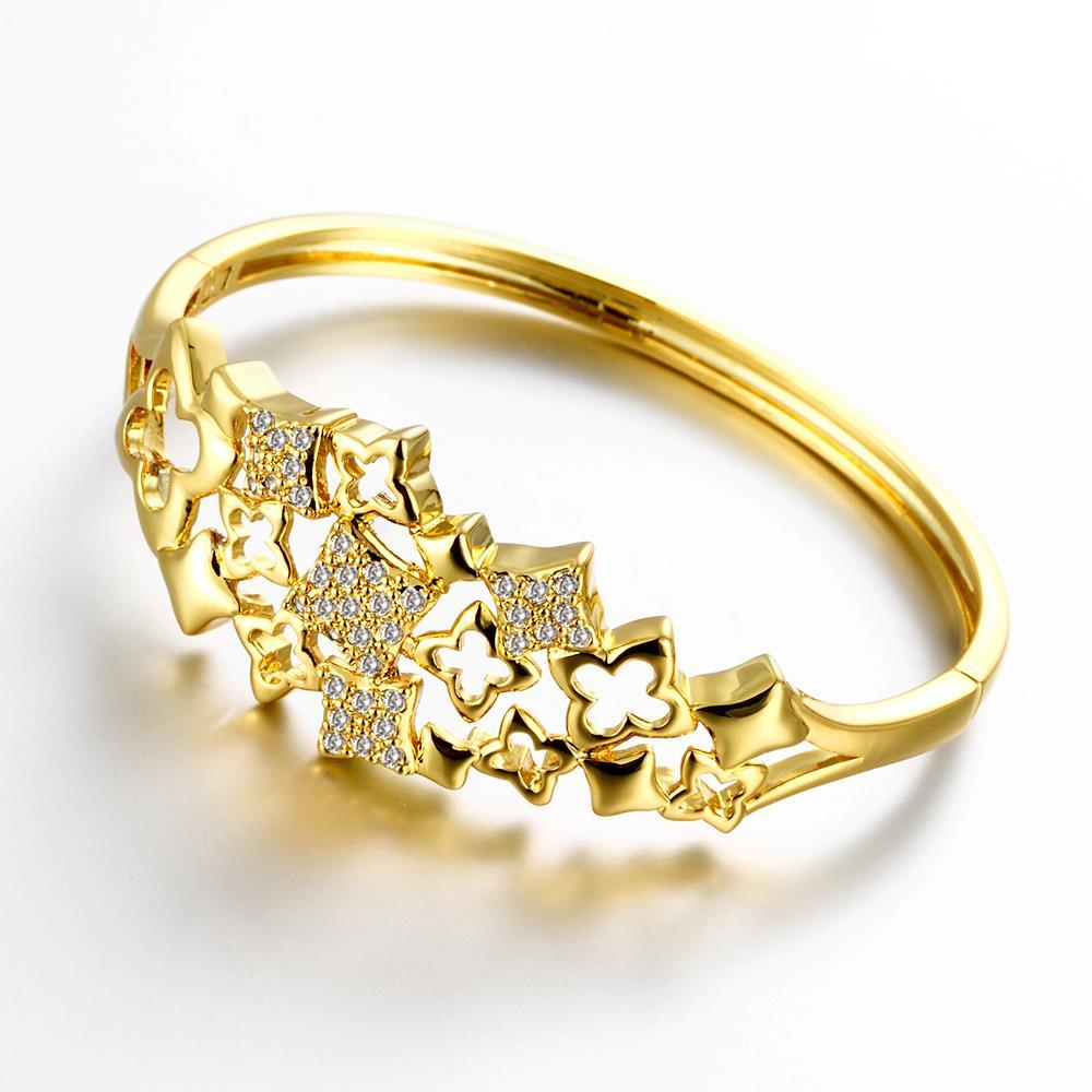 Vienna Jewelry Gold Plated Sophisticated Artistic Bangle