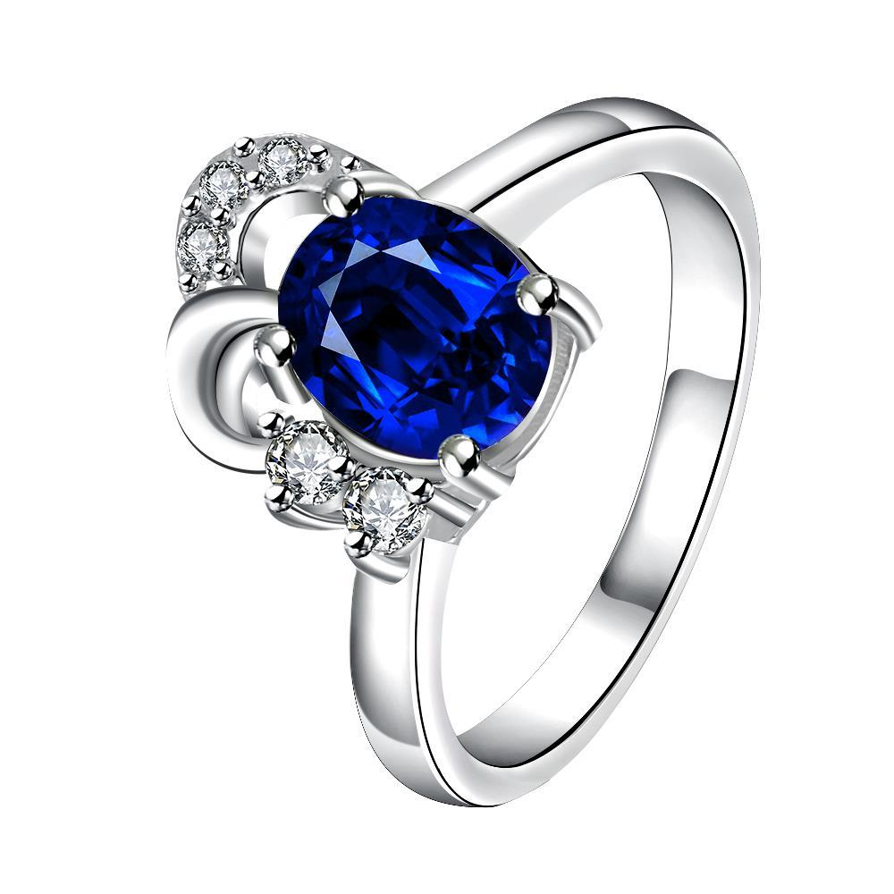 Petite Mock Sapphire Curved Jewels Covering Classic Ring Size 7
