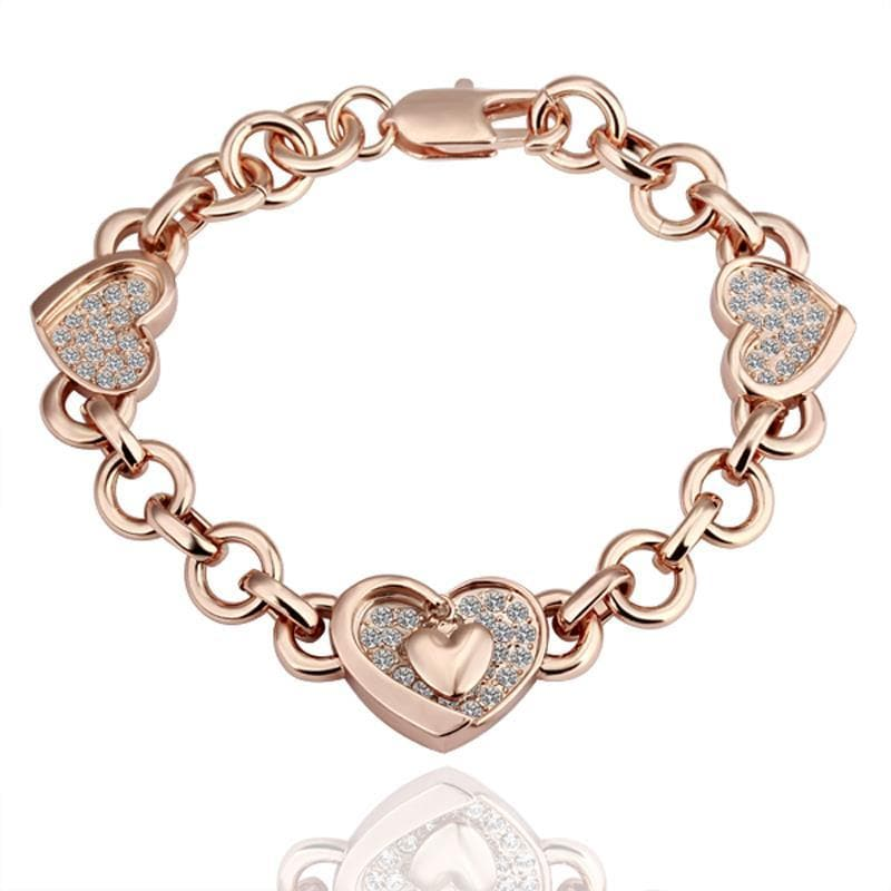 Vienna Jewelry Gold Hearts Interlocking Bracelet with Austrian Crystal Elements - Thumbnail 0