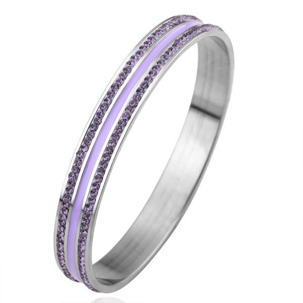 Vienna Jewelry 18K White Gold Bangle with Lavender Jewels Ingrained with Austrian Crystal Elements
