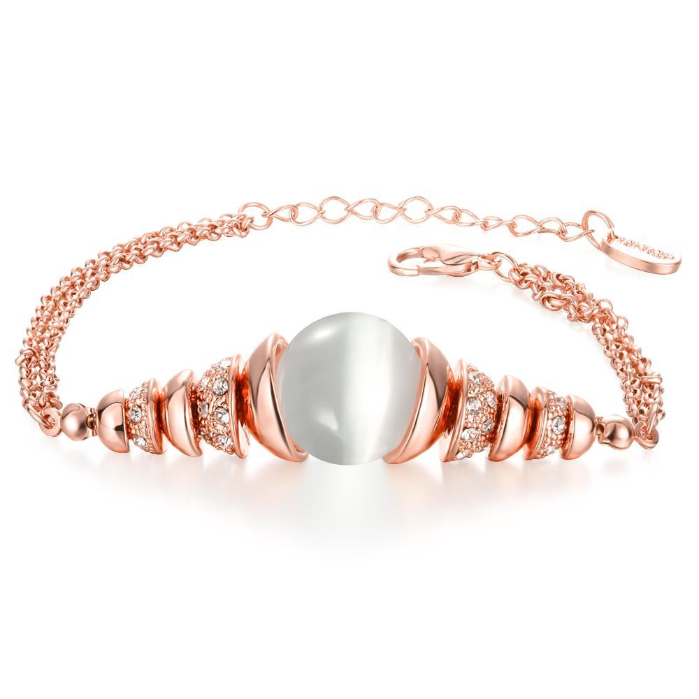 Vienna Jewelry 18K Rose Gold Bracelet with Ivory Centerpiece with Austrian Crystal Elements