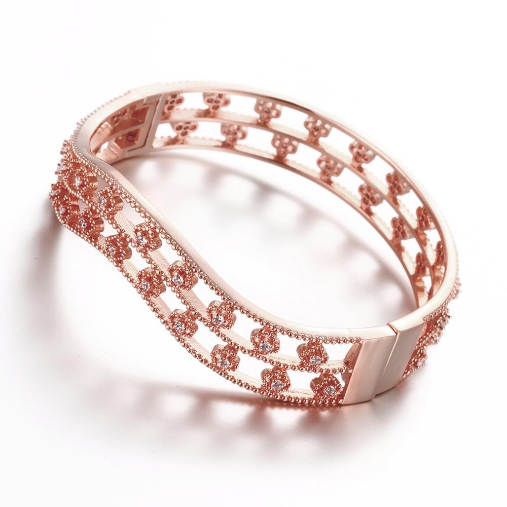 Vienna Jewelry Rose Gold Plated Surrounding Crystal Studs Bangle