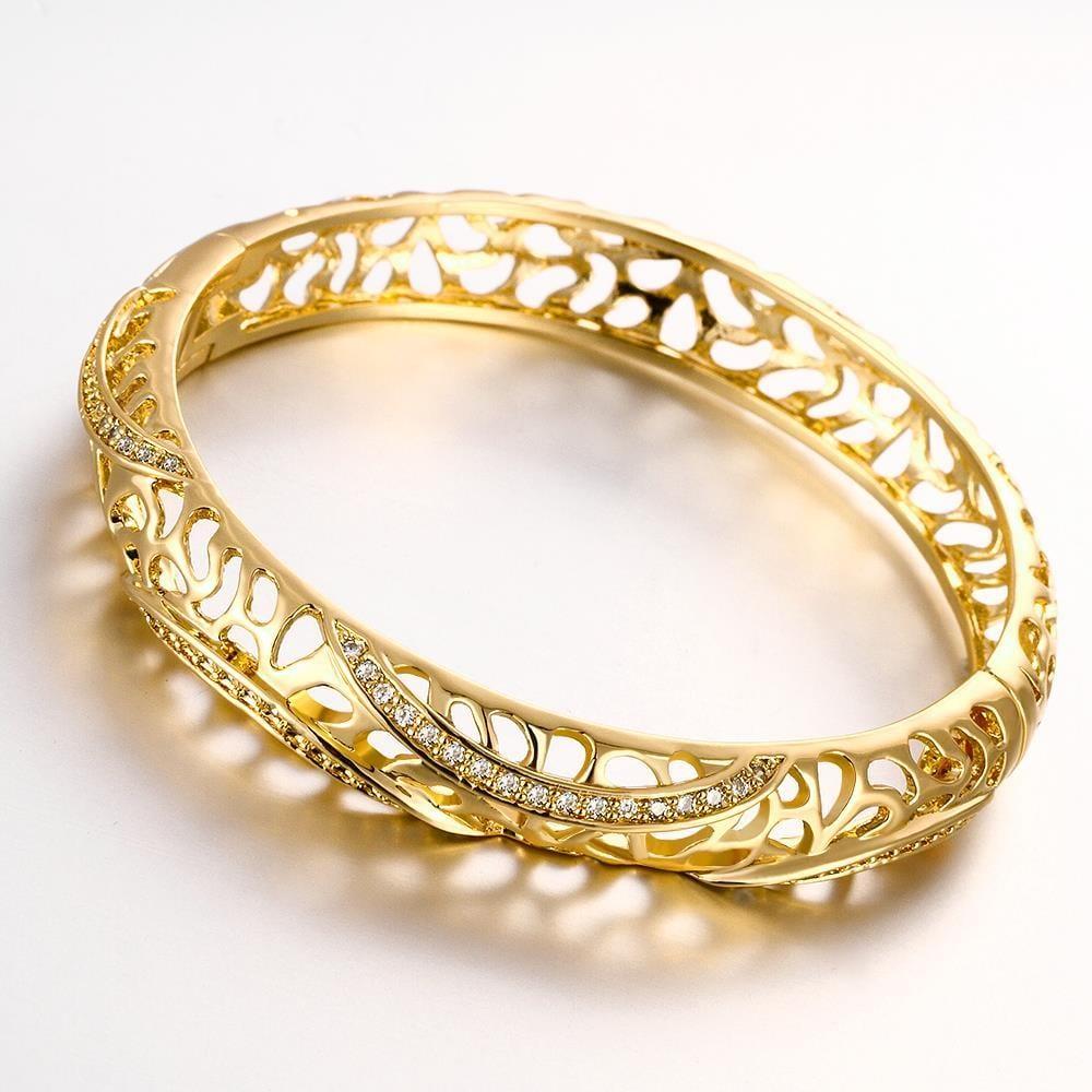 Vienna Jewelry Gold Plated Raise The Bar Bangle