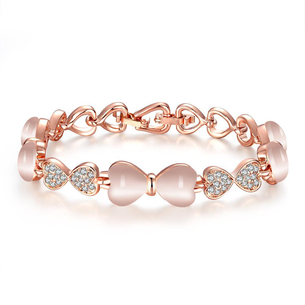 Vienna Jewelry 18K Rose Gold Bracelet with Centerpiece Gemstone with Austrian Crystal Elements