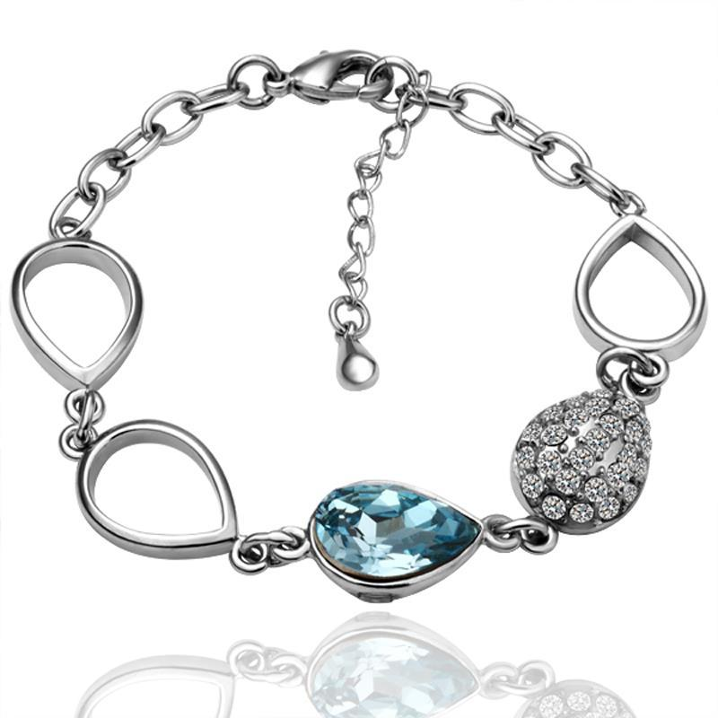 Vienna Jewelry White Gold Hollow Circles Bracelet with Austrian Crystal Elements