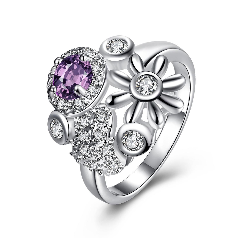 Vienna Jewelry Purple Citrine Multi-Charms Inserted Petite Ring Size 8