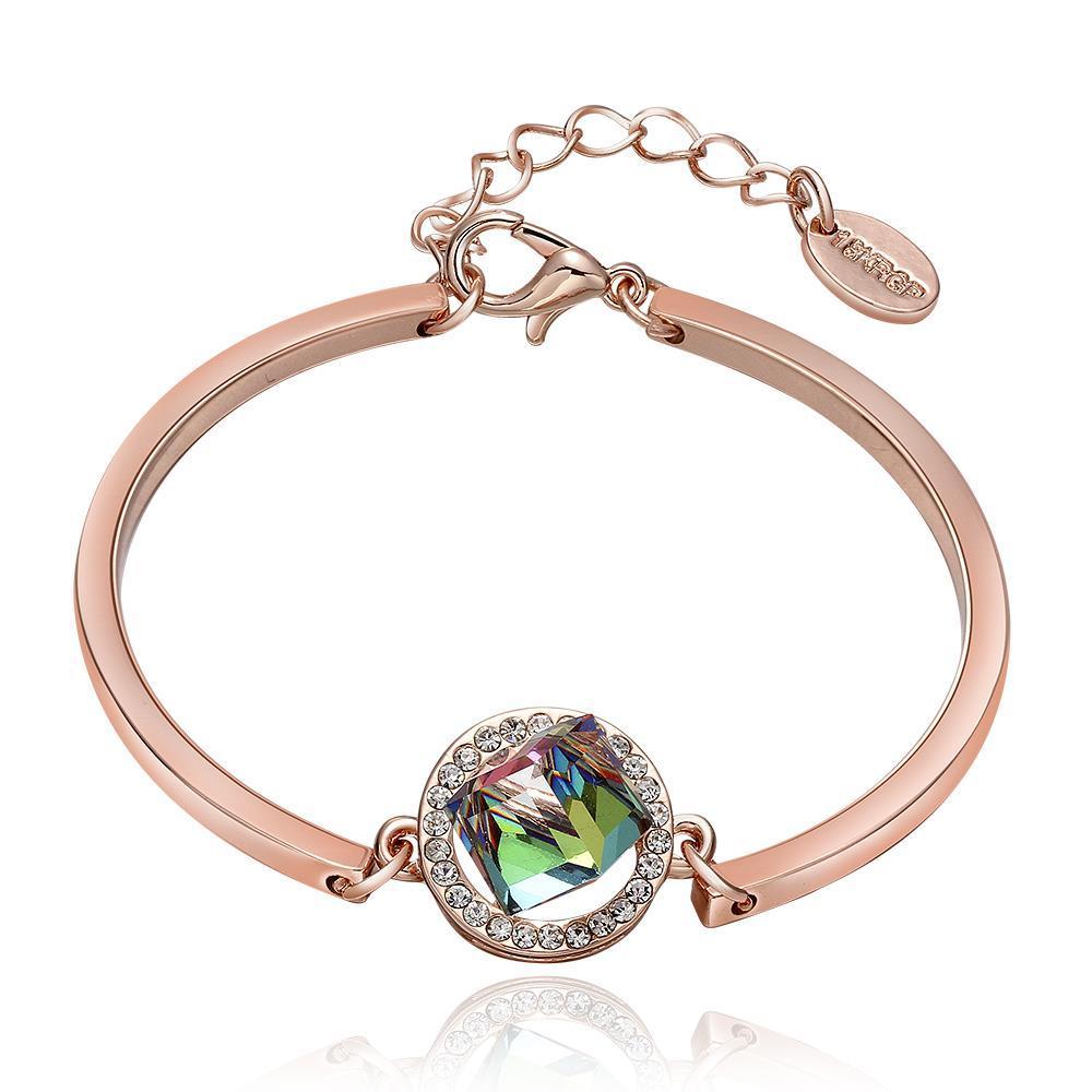 Vienna Jewelry 18K Rose Gold Emerald Emblem Bracelet with Austrian Crystal Elements