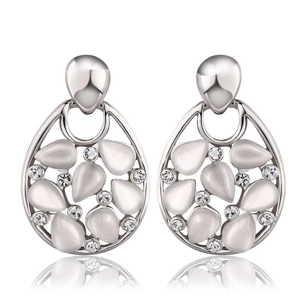 Vienna Jewelry 18K White Gold Hollow Drop Down Earrings with Ivory Inlay Made with Swarovksi Elements