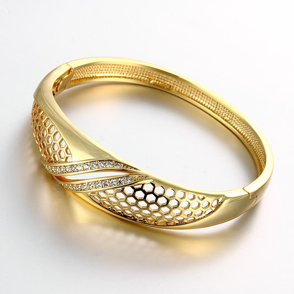 Vienna Jewelry Gold Plated Solo Pave' Slim Cuff Bangle