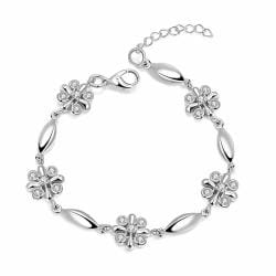 Vienna Jewelry 18K White Gold Rose Petals Emblem Bracelet with Austrian Crystal Elements - Thumbnail 0