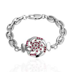 Vienna Jewelry White Gold Thin Line Bracelet with Ruby Emblem with Austrian Crystal Elements - Thumbnail 0