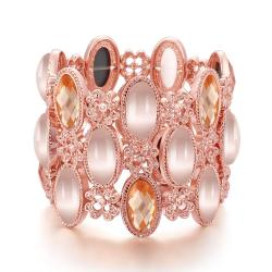Vienna Jewelry 18K Rose Gold Bangle Covered with Natural Gemstones with Austrian Crystal Elements - Thumbnail 0