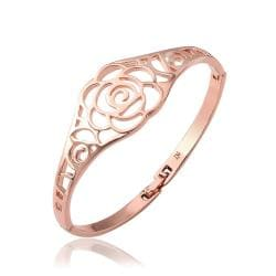 Vienna Jewelry 18K Rose Gold Hollow Rose Petals Bangle with Austrian Crystal Elements - Thumbnail 0