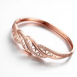 Vienna Jewelry Rose Gold Plated Big Bling Bangle - Thumbnail 0