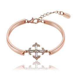Vienna Jewelry 18K Rose Gold Mini Cross Bracelet with Austrian Crystal Elements - Thumbnail 0