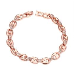 Vienna Jewelry 18K Rose Gold Plated Linked Bracelet - Thumbnail 0
